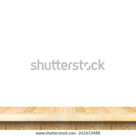 Empty light wood table top isolate on white background, Leave space for placement you background,Template mock up for display of product. - stock photo