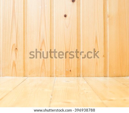 Empty light wooden plank room in perspective view, Mock up template for display or montage of product