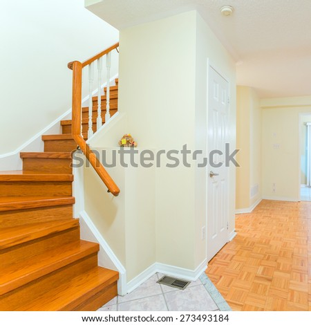 Empty living room interior design in the new house - stock photo