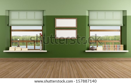 Empty living room of a lake house  - stock photo