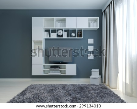 Empty living room with cabinet and lcd tv.  3D render