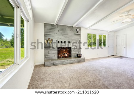 Empty living room with fireplace and soft carpet floor