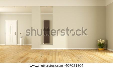 Empty living room with front door and vertical heater - 3D Rendering - stock photo