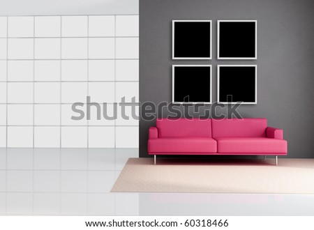 empty living room with leather pink couch - rendering