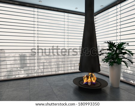 Empty living room with modern fireplace - stock photo