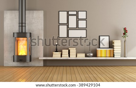 Empty living room with modern fireplace - 3D rendering - stock photo