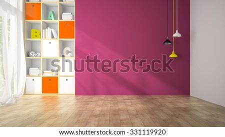 Empty Living Room Purple Wall 3 D Stock Illustration 331119920 ...