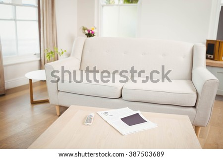 Empty Living Room With Sofa And Table Newspaper Television Remote