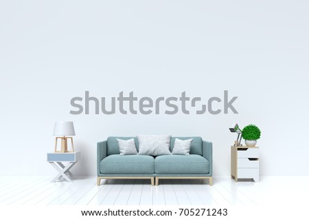 Empty Living Room With Sofa Plants And Cabinet On White Wall Background 3D