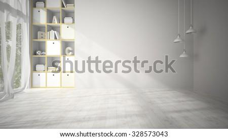 Empty Living Room With White Parquet Floor 3D Rendering