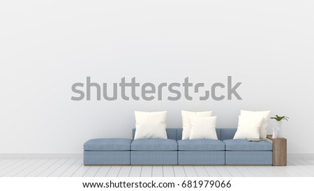 Empty living room white wall light ilustracin en stock 681979066 empty living room with white wall and light blue sofa minimal rustic3d rendering aloadofball Choice Image