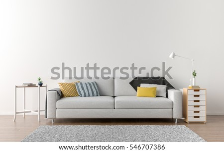 Empty Living Room With White Wall In The Background. 3D Illustration Part 71