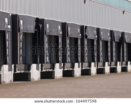Empty Loading Docks as a Symbol for Falling Export Sales - stock photo