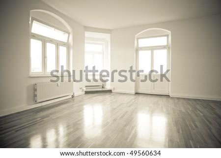 empty loft like living room, vintage monochrome - stock photo