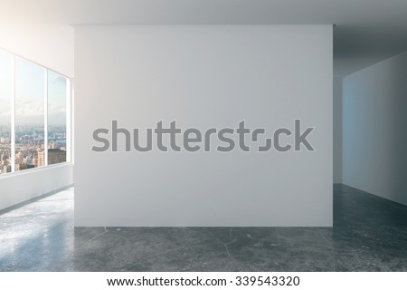 Empty loft room with white walls, city view and concrete floor 3D Render - stock photo