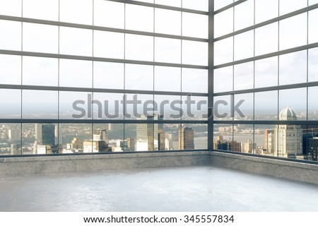 Empty loft room with windows in floor and city view 3D Render - stock photo