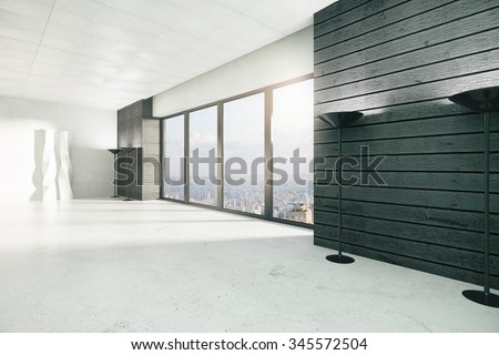 Empty loft style room with windows in floor, white floor and city view 3D Render - stock photo