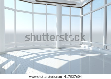 Empty loft with big windows and white floor with sun and shadows