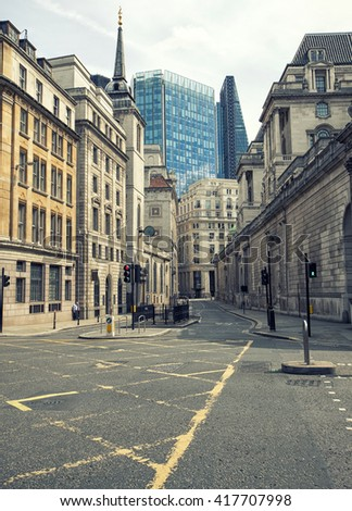 Empty London streets in the financial area know as The City - stock photo