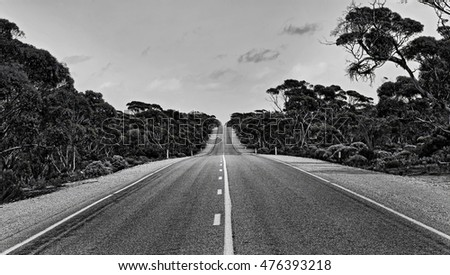 Empty long lonely road somewhere on Eyre Highway in South Australia going through outback gum-trees as a black-white image.