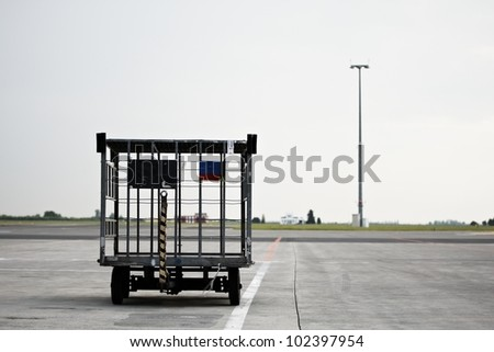 Empty luggage cart at the airport, Prague, Czech Republic - stock photo