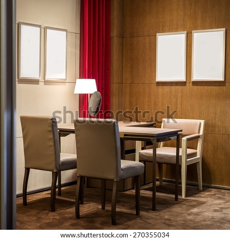 Empty luxury business drawing room with wooden table & chair ready for warm welcome  meeting - stock photo