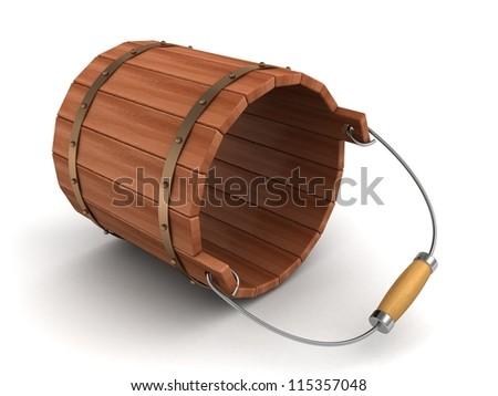 empty lying wooden bucket on white background - stock photo
