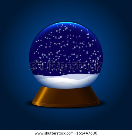 Empty magic snow ball with stand and snowflakes - stock photo