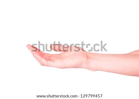 Empty male hand isolated on white. Asking for help or suggesting help concept.