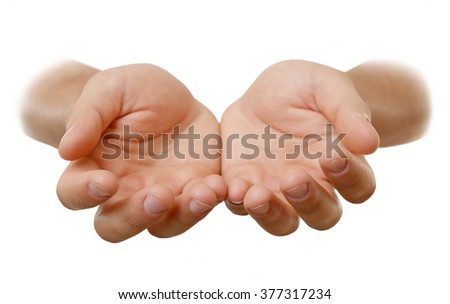 Empty male hands, isolated on white - stock photo