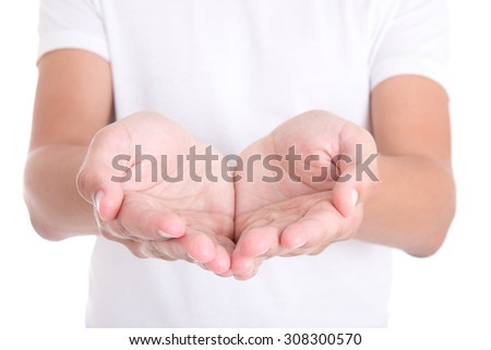 empty male palms isolated on white background - stock photo