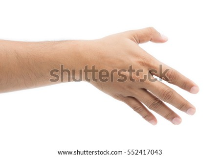 Empty man hand on white background, Check Hand