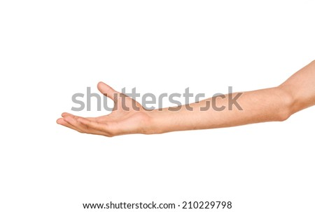 empty man's hand, palm up on an isolated white background