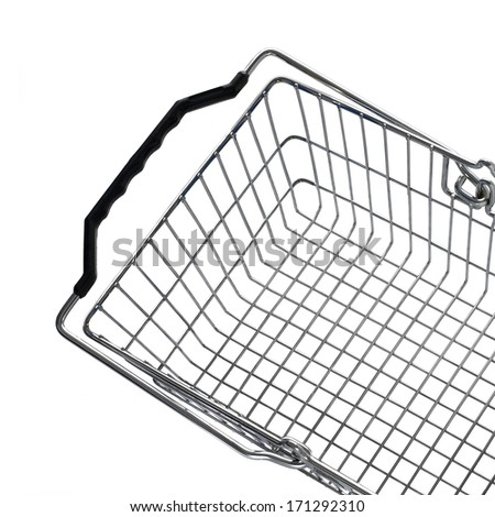 Empty market basket on white background - stock photo