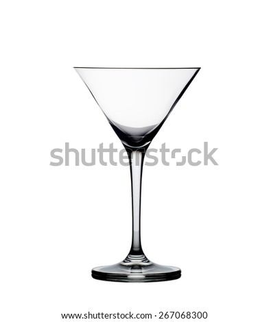 Empty martini glass isolated on the white background - stock photo