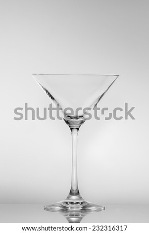Empty Martini glass on a gray neutral background