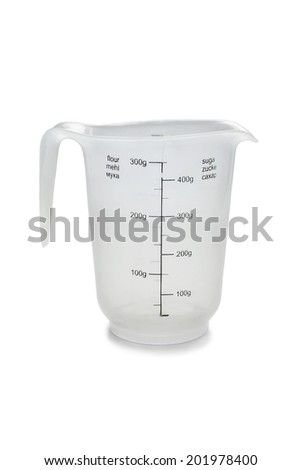 Empty measuring cup for flour and sugar isolated over white - stock photo