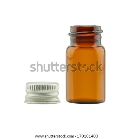 Empty medicine bottle isolated on white background - stock photo