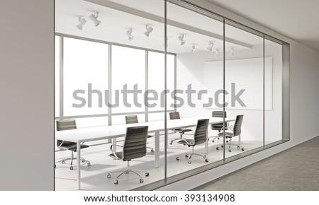 Empty meeting room in office. Corridor view. Concept of business meeting. Mock up. 3D render. - stock photo