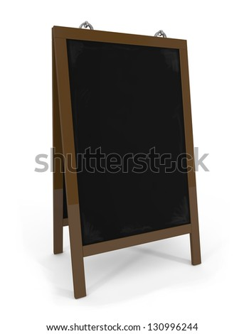 Empty menu board isolated on white - 3d illustration