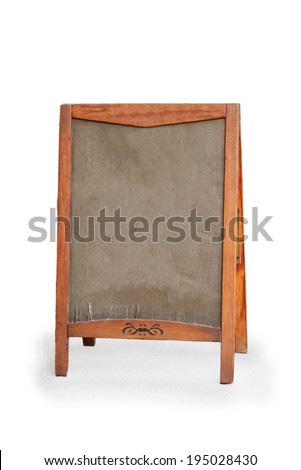 Empty menu board stand sign isolated on a white background - stock photo