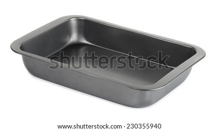 Empty metal baking tray isolated on white