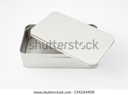 Empty metal box isolated on white - stock photo