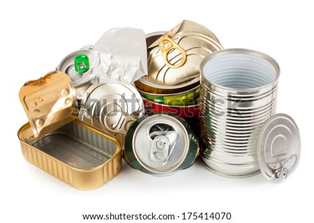 Empty metal cans waiting on recycling - stock photo