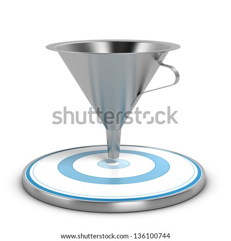 Empty metal funnel and blue target over white background, concept of conversion rate - stock photo