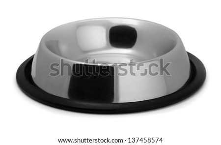 Empty metal pet bowl isolated on white - stock photo