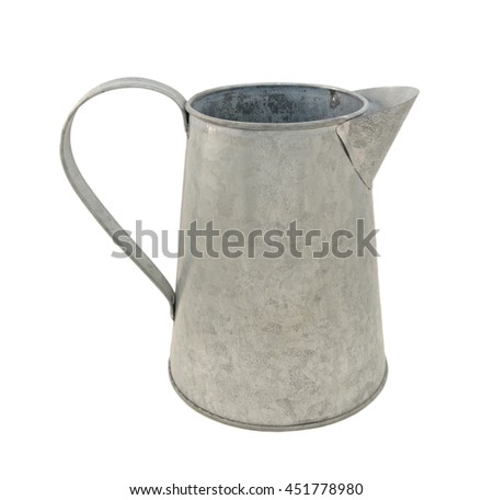 Empty metal pitcher, isolated on a white background - stock photo