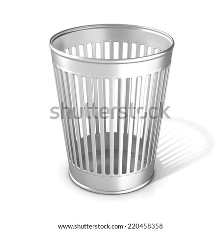 Empty metal trash bin isolated on white background