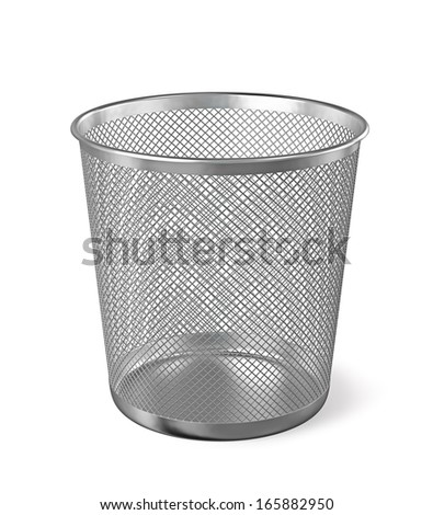 Empty metal trash garbage bin paper bin isolated on white background - stock photo