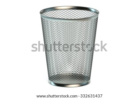 empty metallic garbage bin isolated on white background